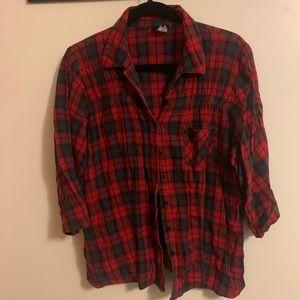 Torrid 3/4 sleeve plaid shirt